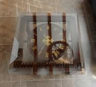Журнальный столик с коваными часами