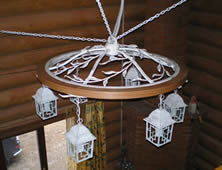 wrought iron wood chandelier