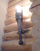 aged pine torch lamp