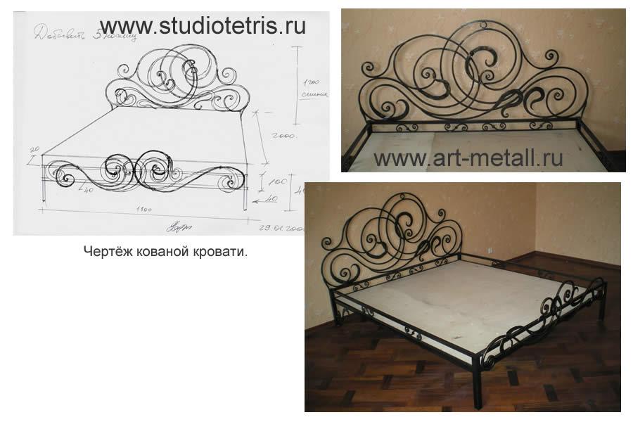 Кованые кровати чертежи