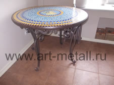 Wrought iron round table.