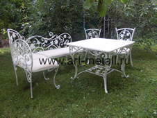 Wrought iron table, chairs.