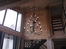 Large wrought iron chandelier.