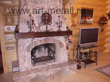 forged iron fireplace, accessories, grates.