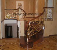 Wrought iron railings, stairs.