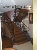 Stairs. Oak. Forged railings.