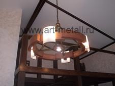 Wood chandelier.