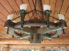 Wood outdoor chandelier.