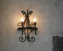 Wrought iron sconce.